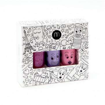 Nailmatic Kids - Vandbaseret neglelak til børn - City 3 (Pakke med 3 stk.)